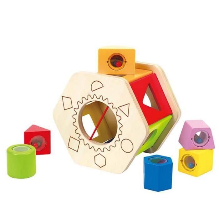 Jouet bébé 1 an Jouet en bois boîte à formes géométriques encastrement Montessori