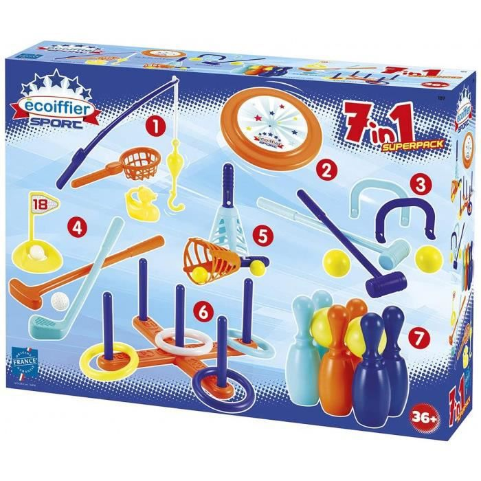 Jouets Ecoiffier -189 - Pack 7 Jeux D'Adresse – Jeux De Plein Air Pour Enfants – Dès 3 Ans – Fabriqué En France