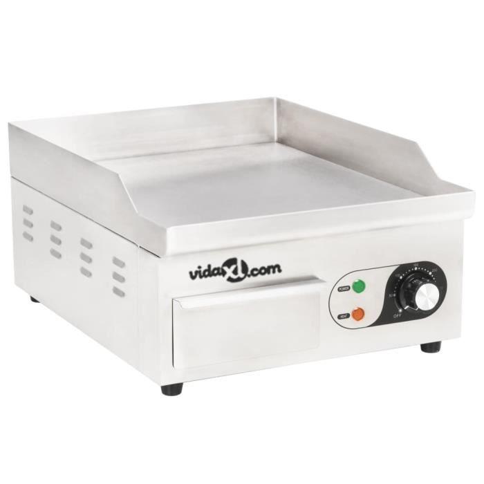 Plancha électrique-Plaque de cuisson Intérieur et Extérieur 6 à 8 Personnes Cuisson Acier inoxydable 2000 W 36 x 47 x 22 cm