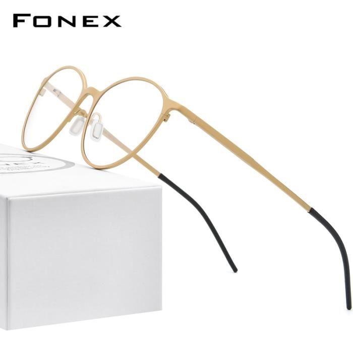 Montures de Lunettes de vue,FONEX pur titane lunettes montures pour femmes rétro rond Prescription lunettes hommes 2020 - Type Or