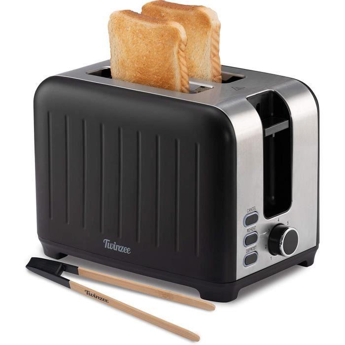 Twinzee - Grille Pain 3 en 1 - Noir Mat en Inox - 2 Large Fente - Toaster Rétro - Pince en Bambou Gratuite - 7 Niveaux de Brunissage