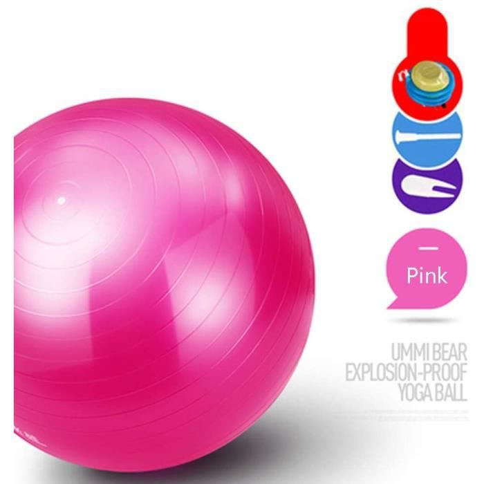 GYM BALL Exercice Gym AntiBurst Yoga Ball 55cm 65cm 75cm Extra Thick Swiss Ball avec Pompe Convient pour Home Gym Office Chai366
