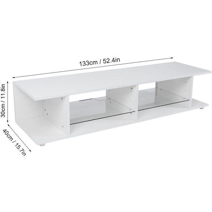 White TV Cabinet High‑Gloss Front TV Stand Table with Blue LED Light for Living Room(EU Plug 220V ) -VQU