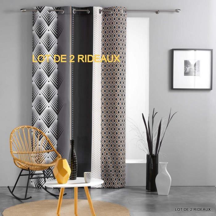 Lot de 2 rideaux a oeillets 140 x 260 cm polyester imprime galileo Noir