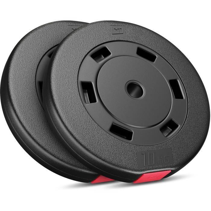 Disques de poids Hop-Sport, Poids en plastique de 20 kg (2x10kg) (SET D)