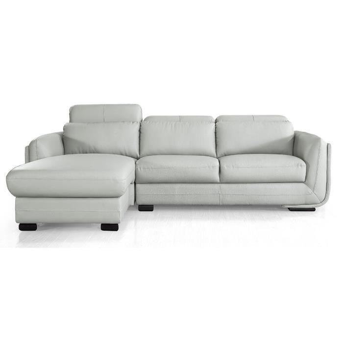 Canapé d'angle gauche en cuir KENZO - Gris - Gauche - Gris