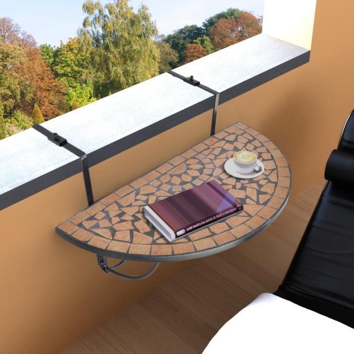 Table de Jardin Table de balcon Pliante suspendue en Mosaïque Demi-circulaire Terre cuite et Noir