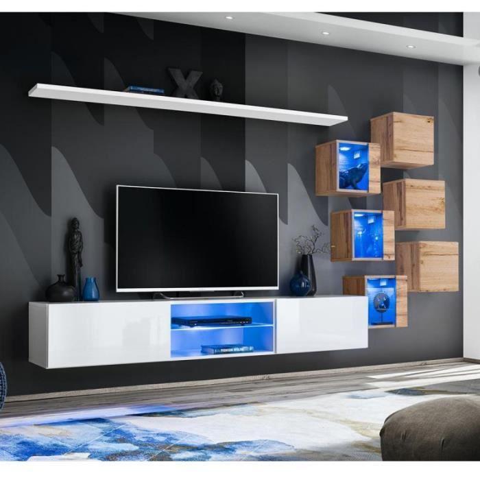 Ensemble Meuble Tv -switch Xxi- 180cm Blanc & Naturel - Paris Prix