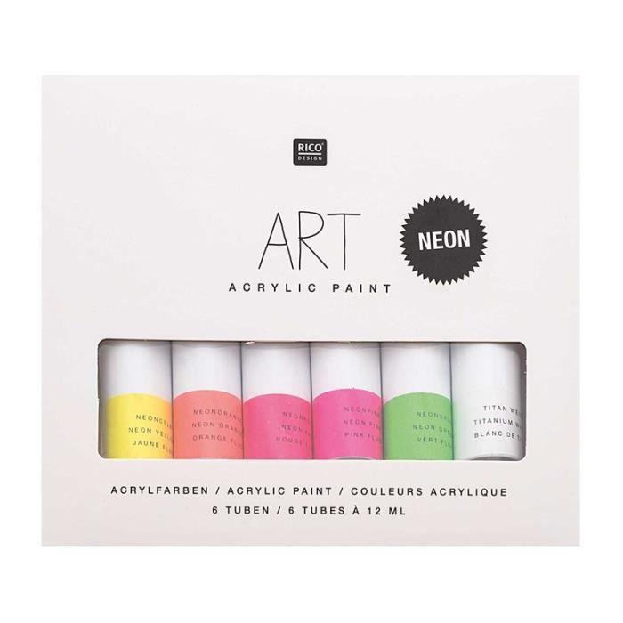 Set peinture acrylique - Fluo - 6 x 12 ml