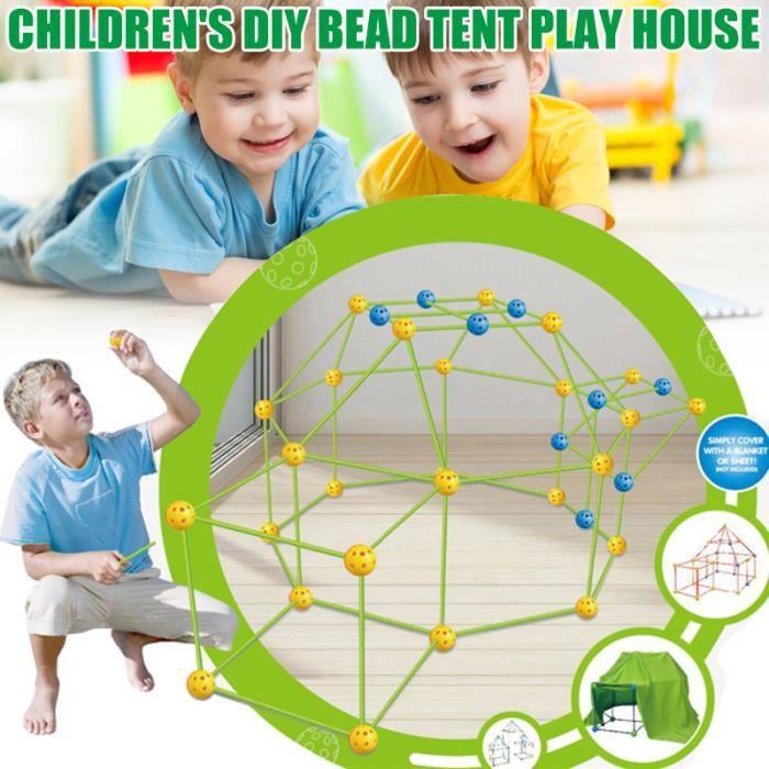 Kit de construction de cabine enfant pour enfants Kit de construction de fort de construction sphères de liaison et tente