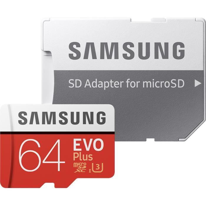 SAMSUNG EVO Plus MB-MC64HA - Carte mémoire flash (adaptateur microSDXC vers SD inclus(e)) - 64 Go