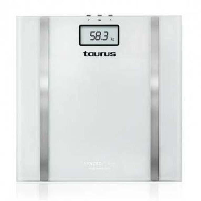 TAURUS Pèse-personne électronique blanc de haute précision Syncro Glass