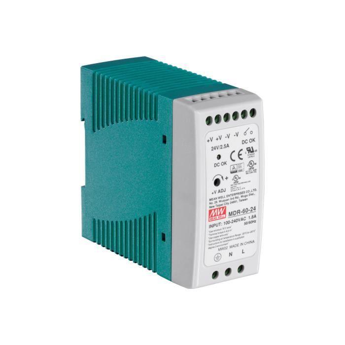TRENDNET Module d'Alimentation Propriétaire TI-M6024 - 60 W - Rail DIN - 120 V AC, 230 V AC Entrée - 24 V DC Sortie