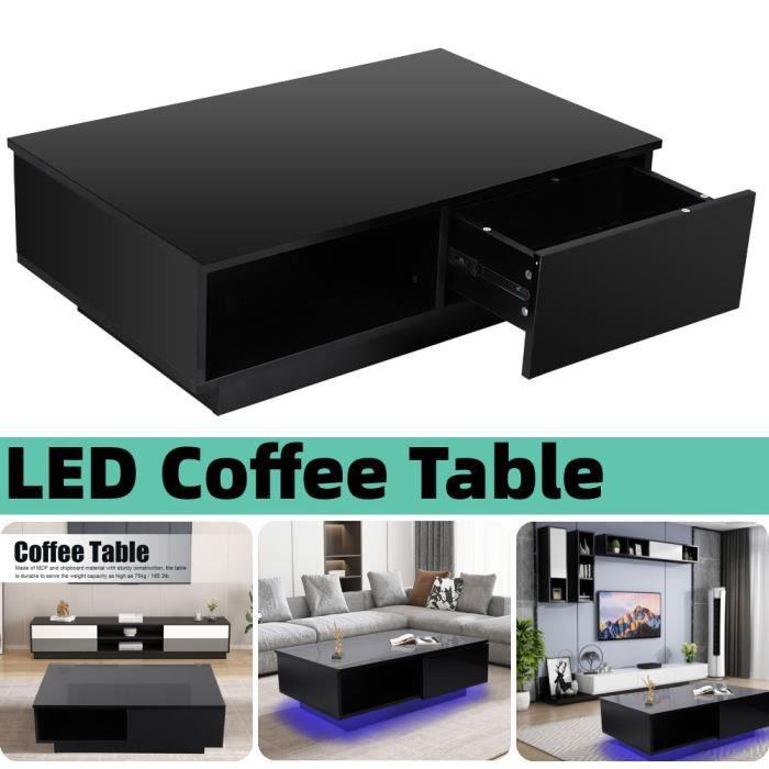 Table basse led contemporain noir Table Basse de Salon Design Table de Salon HB034 Nouveau