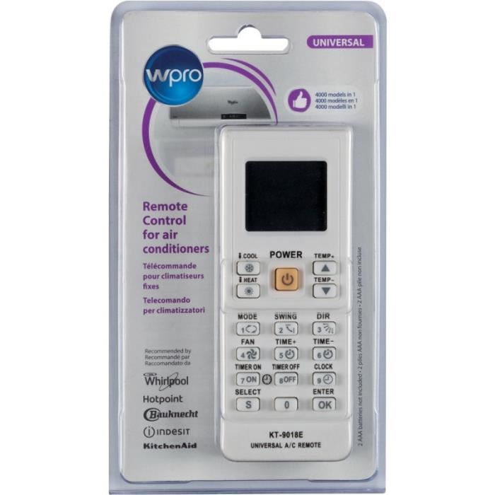 WPRO KT-91018E Télécommande Universelle pour Climatiseur Fixe Compatible avec + de 4000 modèles