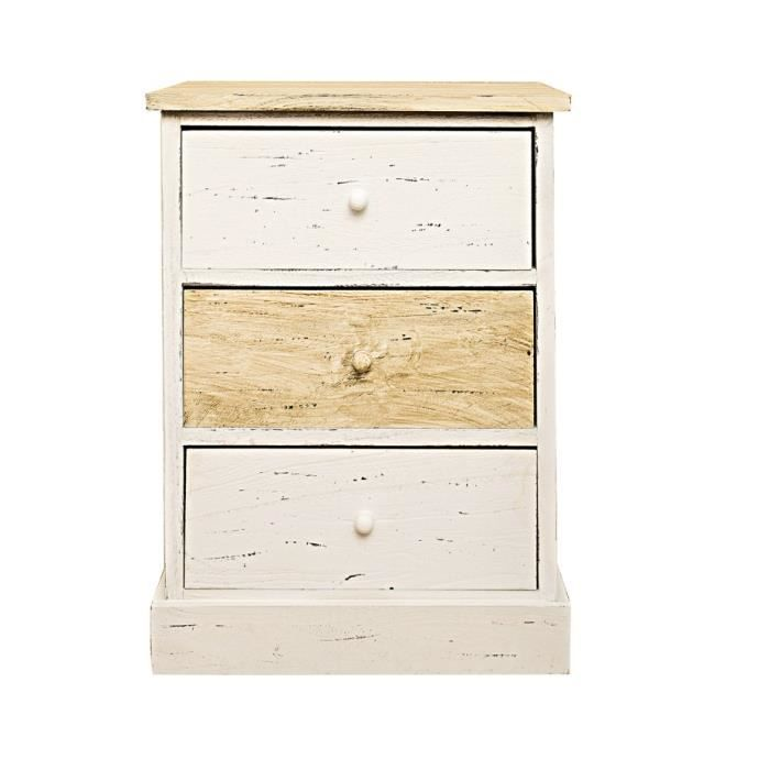 commode meuble de chevet 3 tiroirs bois clair blanc vintage retro chambre bain achat vente. Black Bedroom Furniture Sets. Home Design Ideas