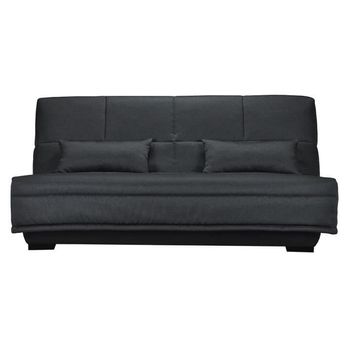 Banquette clic clac madison 3 places couchage 140 couleur anthracite - Banquette clic clac 140x190 ...
