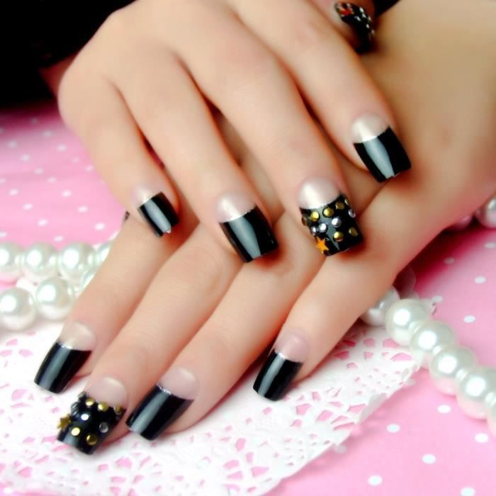 manucure patch fashion faux ongles rivet ongle noir japonais autocollants transparents achat. Black Bedroom Furniture Sets. Home Design Ideas