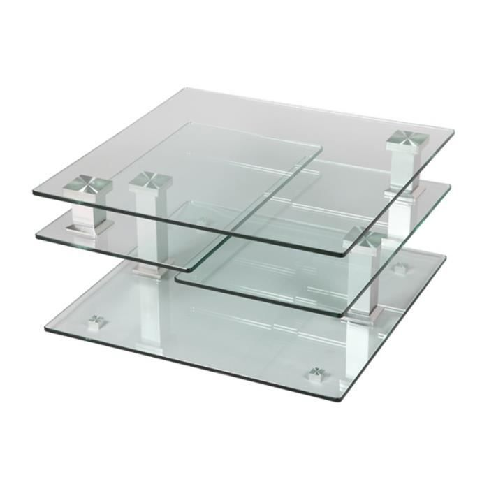 Table basse en verre carr e quadra achat vente table for Table basse verre carree