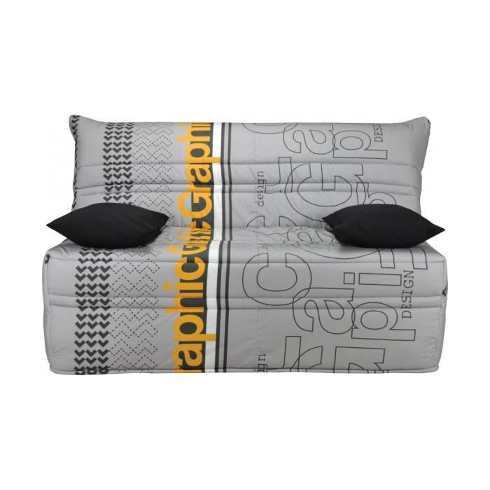 banquette bz tissu graphic gris clair matelas 140x190. Black Bedroom Furniture Sets. Home Design Ideas