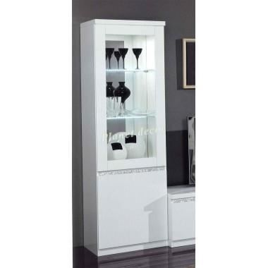 vitrine 1 porte cromo laque blanc achat vente vitrine. Black Bedroom Furniture Sets. Home Design Ideas