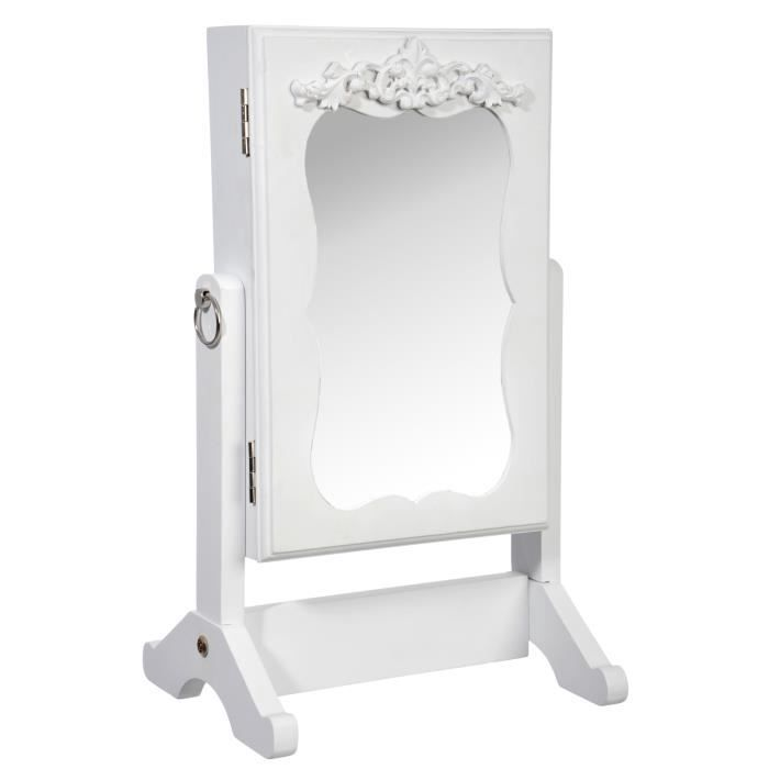 miroir porte bijoux design baroque coloris blanc achat vente miroir cadeaux de no l cdiscount. Black Bedroom Furniture Sets. Home Design Ideas