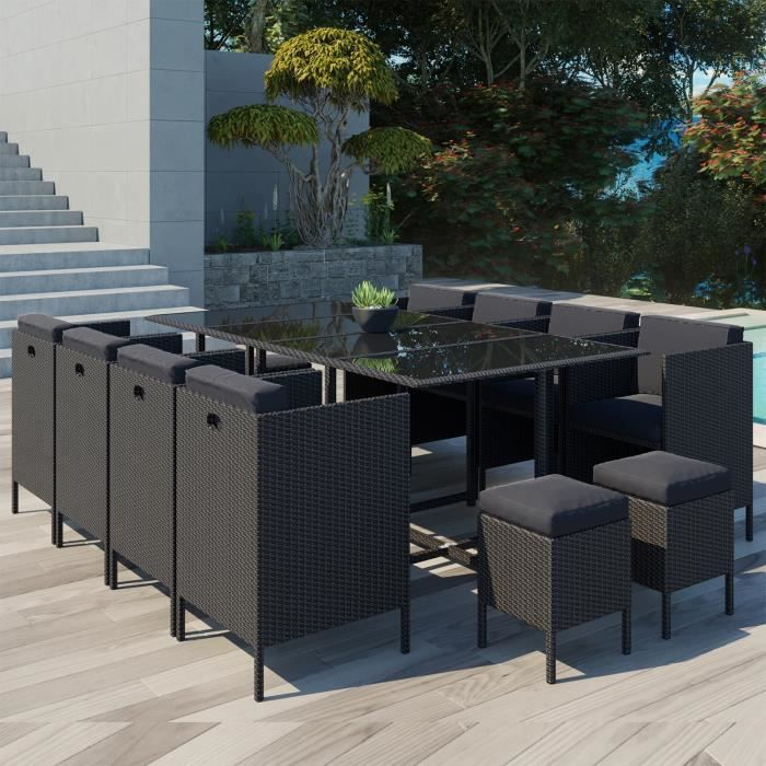 Ensemble table et chaise de jardin Daytona 12 : salon de jardin encastrable 12 places