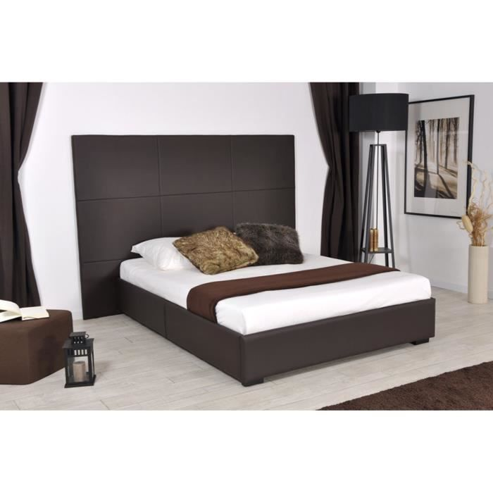 lit design 160x200 cm marron elora achat vente. Black Bedroom Furniture Sets. Home Design Ideas