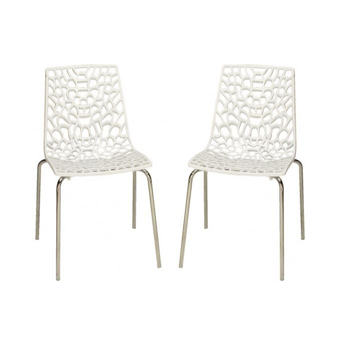 lot de 2 chaises blanches traviata achat vente chaise cdiscount. Black Bedroom Furniture Sets. Home Design Ideas