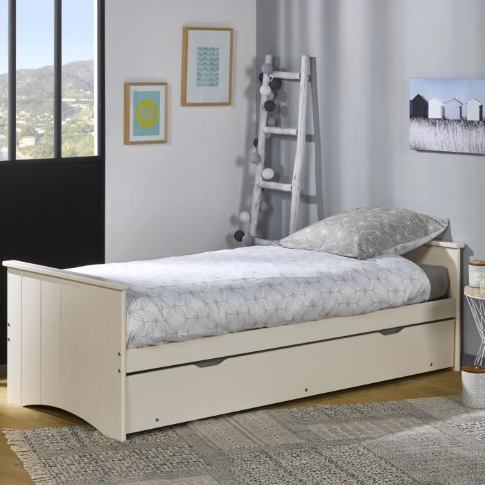 sommier et cadre lit gigogne perle 80x190 achat vente. Black Bedroom Furniture Sets. Home Design Ideas