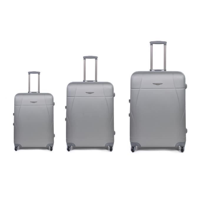 bagage madisson lot de 3 valise 4 roues argent argent. Black Bedroom Furniture Sets. Home Design Ideas
