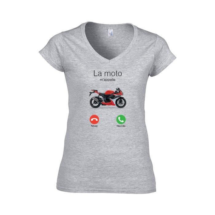 Mygoodprice T-Shirt col Rond la Moto mappelle