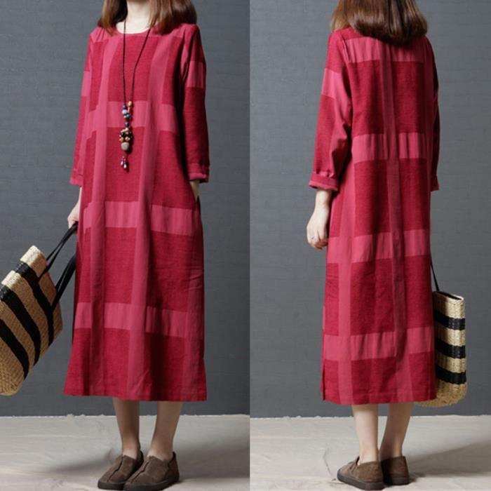 Robe Longue En Coton Et Lin A Manches Longues Pour Femmes Rouge Rouge Achat Vente Robe Cdiscount