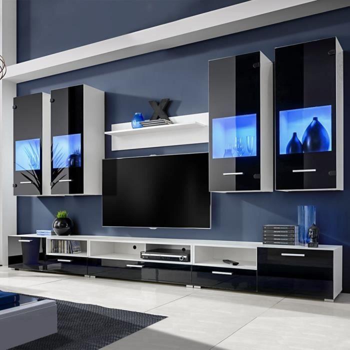 Meuble Tv A Vitrine Murale Noir Avec Lumiere Led Bleu 8 Pieces Muble Tv Mural Contemporain Scandinave Achat Vente Meuble Tv Meuble Tv A Vitrine Murale Cdiscount