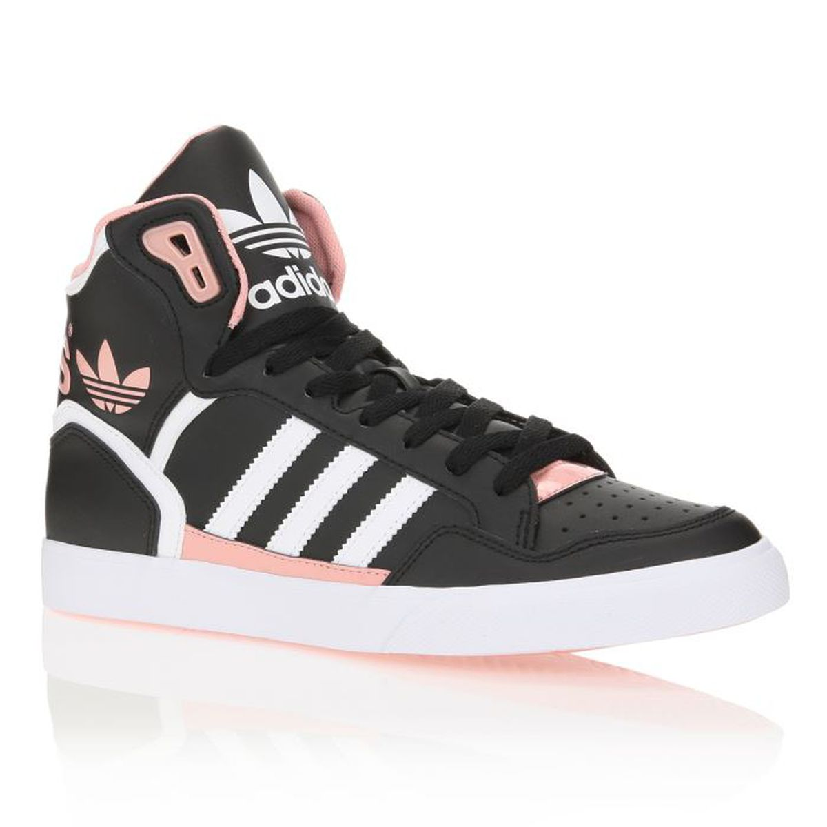 adidas originals baskets extaball femme femme noir blanc et rose achat vente adidas baskets. Black Bedroom Furniture Sets. Home Design Ideas