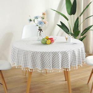 F/ête Mariage NATUCE Nappe Ronde Restaurant Jaune 150cm Nappes Coton et Lin Nappe en Serg/é Simple Style R/ésistance /à la Chaleur et /Étanche /à la Poussi/ère pour Buffet