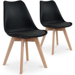 CHAISE Lot de 2 chaises style scandinave Catherina Noir