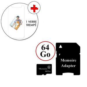 CARTE MÉMOIRE VERRE TREMPE + CARTE 64 Go Pour wiko view 2 (6 pou