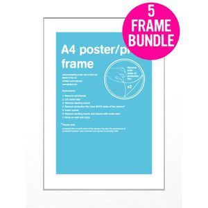 CADRE PHOTO 5 Cadres pour posters taille A4 29.7 x 21 cm (Blan