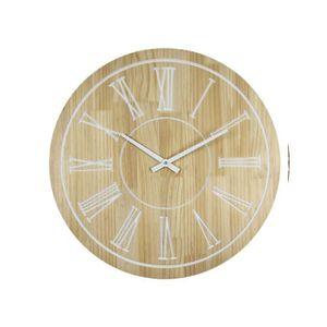 HORLOGE - PENDULE WOOD Horloge murale effet bois - Ø60cm