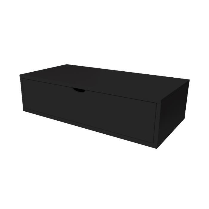 Cube de rangement longueur 100 cm + tiroir - Couleur - Noir