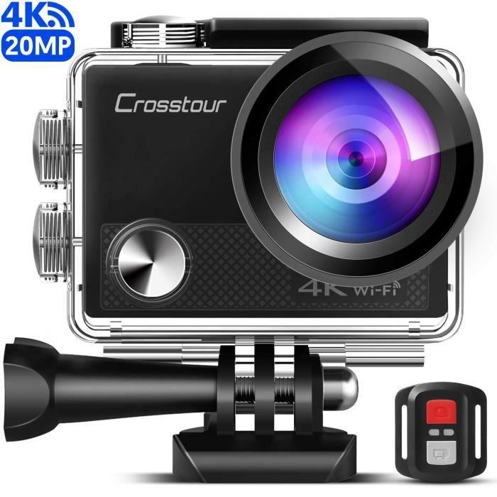 [Version améliorée] Crosstour Caméra Sport 4K Wi-FI 20MP Ultra HD étanche 40M Action Camera Télécommande