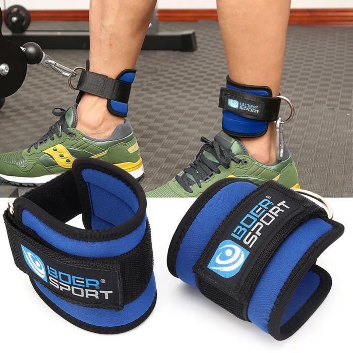 Sangle d'Ancrage de Cheville à Anneau en D Fitness pour Exercice de Force des Machines à Câbles(Bleu )