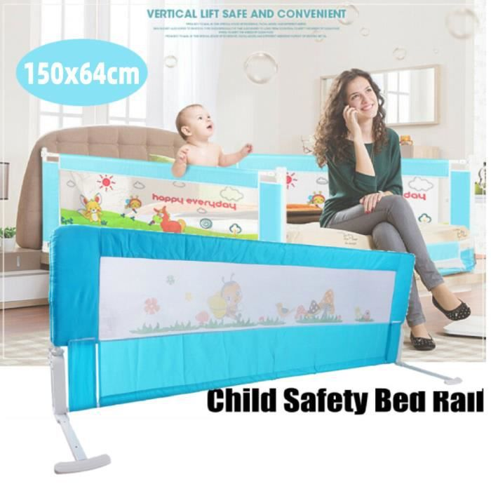Blue 150cm Folding Toddler Safety Bed Rail Kids Sleep Guard Protection -QNQ