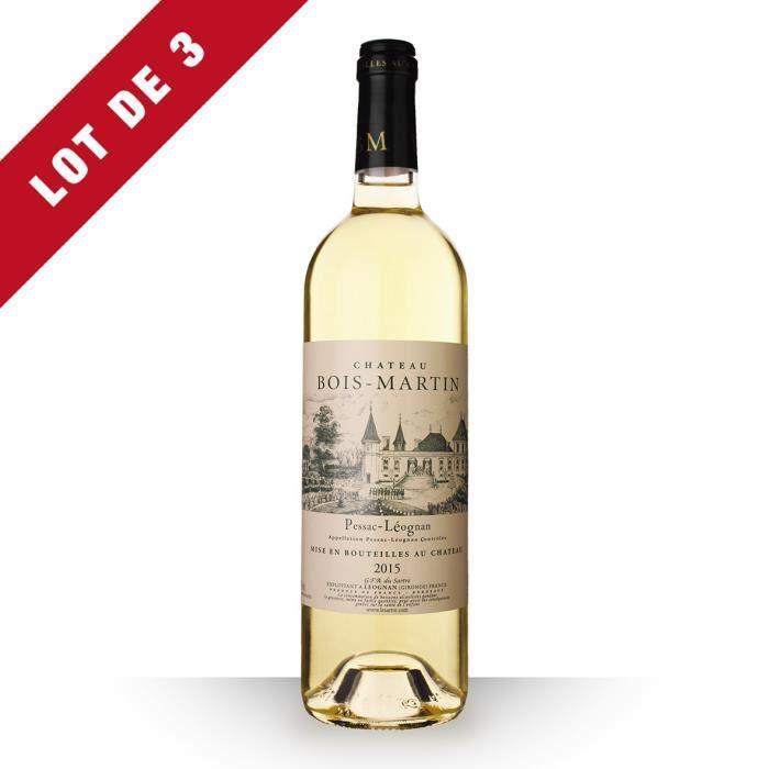 3X Château Bois-Martin 2015 Blanc 75cl AOC Pessac-Léognan - Vin Blanc