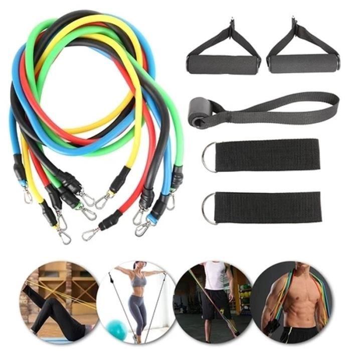 11 pièces Bandes de Resistance Elastiques Musculation Set Fitness Exercice Bandes Kit pour Fitness Yoga Gym Entraînement