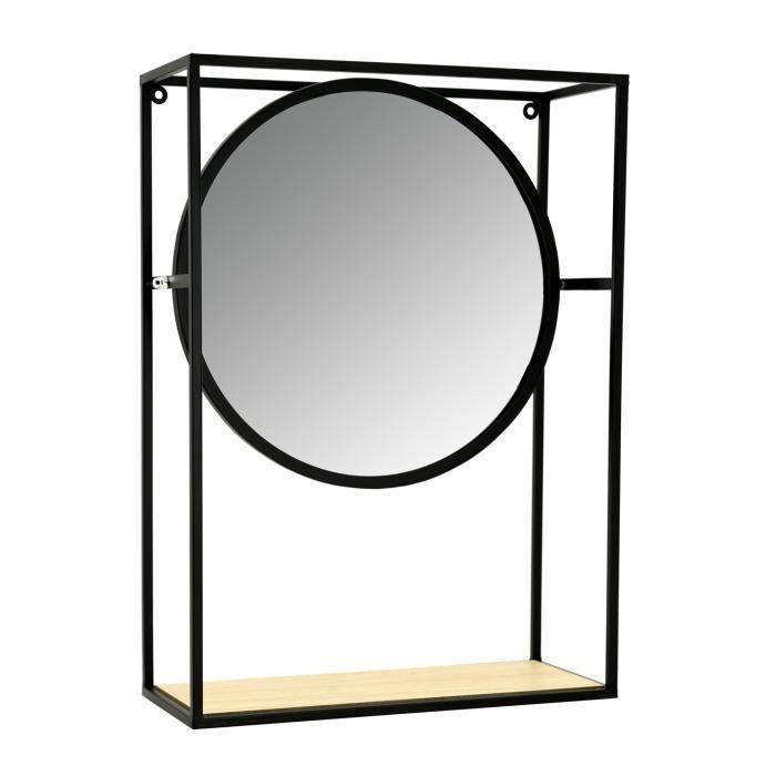 Miroir étagère en métal, verre et bois Noir