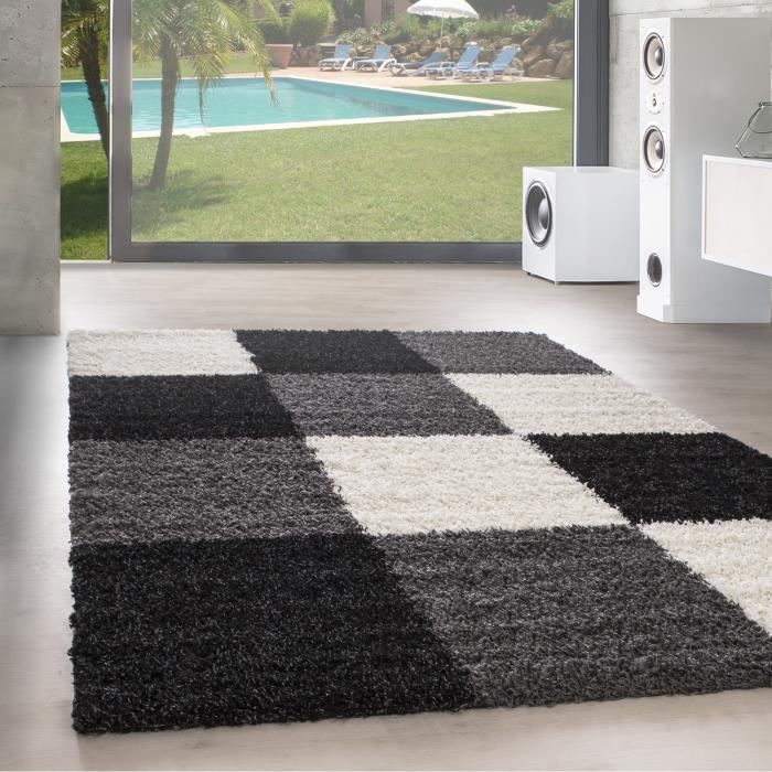 Designer Haut fleuri tapis de salon Shaggy Langfleuri Karzred motif noir gris blanc [120x170 cm, Noir]