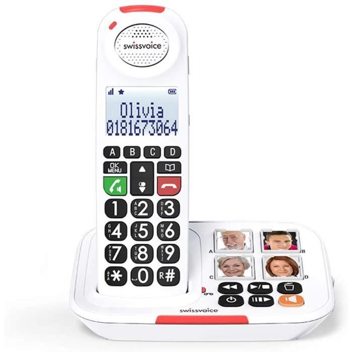 Swissvoice Xtra 2155- Téléphone sans fil pour les séniors, 4 photos mémoires, Amplification audio (+30dB), Sonnerie extra forte (90d