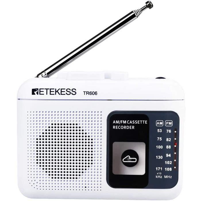 Retekess TR606 Lecteur de Cassette Portable et Enregistreur, Petite Radio FM AM, Walkman Enregistreur à Cassette, Prise Casque 3,5 m